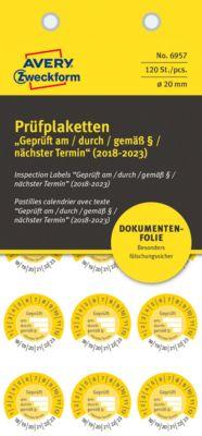 """AVERY® Zweckform Prüfplaketten """"Geprüft am / durch / gem. §"""", 2018-2023, abziehsichere Folie, gelb, Ø 20 mm"""