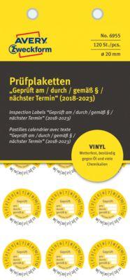 """AVERY® Zweckform Prüfplaketten """"Geprüft am/durch/gem. §"""", 2018-2023, Vinyl-Folie, gelb, Ø 20 mm"""