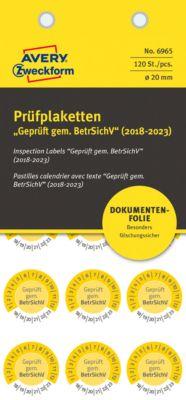 """AVERY® Zweckform Prüfplaketten """"Geprüft gem. BetrSichV"""", 2018-2023, abziehsichere Folie, gelb, Ø 20 mm"""