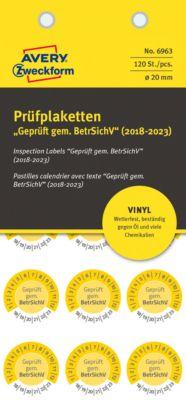 """AVERY® Zweckform Prüfplaketten """"Geprüft gem. BetrSichV"""", 2018-2023, Vinyl-Folie, gelb, Ø 20 mm"""