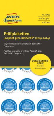 "AVERY® Zweckform Prüfplaketten ""Geprüft gem. BetrSichV"", 2019-2024, abziehsichere Folie, blau, Ø 20 mm"
