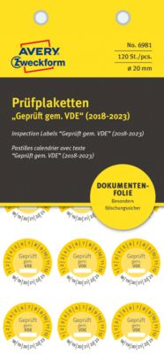 "AVERY® Zweckform Prüfplaketten ""Geprüft gem. VDE"", 2018-2023, abziehsichere Folie, gelb, Ø 20 mm"