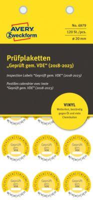 "AVERY® Zweckform Prüfplaketten ""Geprüft gem. VDE"", 2018-2023, Vinyl-Folie, gelb, Ø 20 mm"