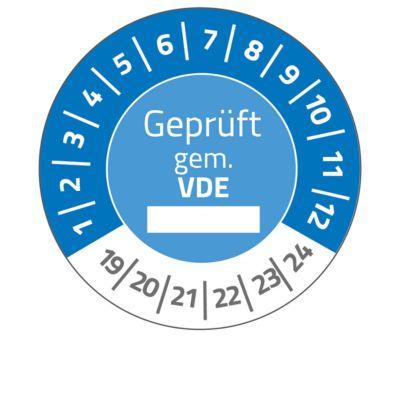 "AVERY® Zweckform Prüfplaketten ""Geprüft gem. VDE"", 2019-2024, Ø20, abziehsichere Folie, blau"