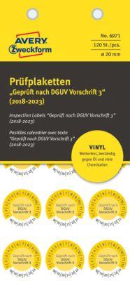 """AVERY® Zweckform Prüfplaketten """"Geprüft nach DGUV Vorschrift 3"""", 2018-2023, Vinyl-Folie, gelb, Ø 20 mm"""