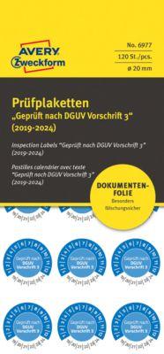 """AVERY® Zweckform Prüfplaketten """"Geprüft nach DGUV Vorschrift 3"""", 2019-2024, abziehsichere Folie, blau, Ø 20 mm"""