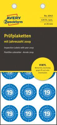 AVERY® Zweckform Prüfplaketten mit Jahreszahl 2019, 120 Stück á Ø 20 mm, Vinyl-Folie, blau