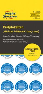 "AVERY® Zweckform Prüfplaketten ""Nächster Prüftermin"", 2019-2024, Ø20 mm, abziehsichere Folie, blau"