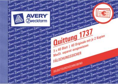 Avery Zweckform Quittung, MwSt. Nr. 1737