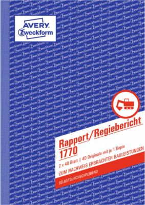Avery Zweckform Rapport/Regiebericht Nr. 1770