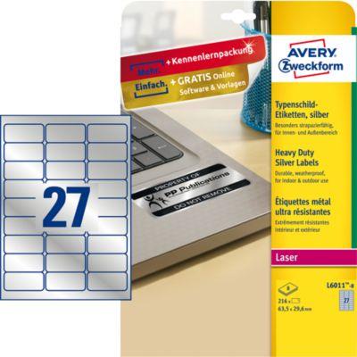 AVERY® Zweckform Typenschildetiketten, rechteckig, f. alle s/w Laserdrucker, 63,5 x 29,6 mm, silbern