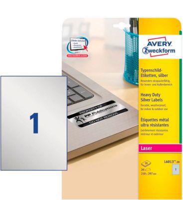 AVERY® Zweckform ultra sterke zilver etiketten, permanent klevend, L6013-20, 210 x 297 mm, 1 etiket/vel