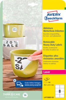 Avery Zweckform Wetterfeste Folien-Etiketten L4715REV-20, 99,1 x 67,7 mm, weiß