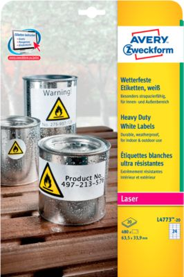 Avery Zweckform Wetterfeste Folien-Etiketten L4773-20, 63,5 x 33,9 mm, permanent, weiß