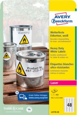 Avery Zweckform Wetterfeste Folienetiketten L4778-20, A4, 960 Etiketten, weiß