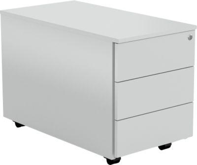 AXXETO verrijdbare ladeblok, 3 laden, b 420 x d 800 x H 540 mm, lichtgrijs