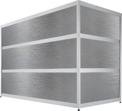 Balie Tool, recht, (bxdxh) 1500 x 800 x 1100 mm, beukendecor/edelstaalafwerking
