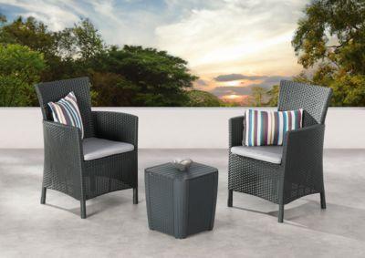 Balkon-Set Napoli, 3-teilig, Rattan-Optik, komplett mit Sitzkissen