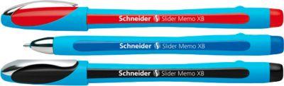 Balpen Slider Memo, zwart, blauw, rood, 3-delige set