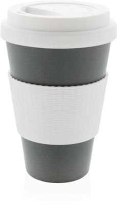 Bambus Kaffeebecher ECO, 270 ml, Deckel & Griff, spülmaschinengeeignet, Werbedruck 20 x 15 mm, grau
