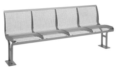 Bank Essen, met rugleuning, 4 zitplaatsen, met flens, met poedercoating, grijs aluminium