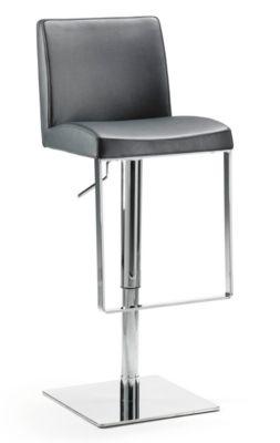 Barhocker Mayer Mybreak, gepolst. PU-Sitz mit Rücken, höhenverstellbar, 360° drehbar, H 560-810 mm, schwarz