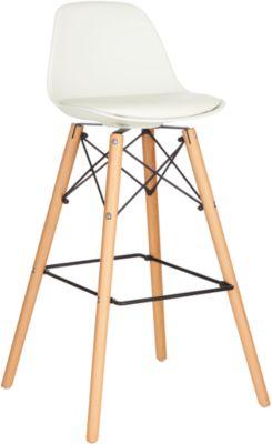 Barhocker STEELWOOD, Kunststoff, mit Holzbeinen, Sitzkissen, Sitzhöhe 740 mm, 2 Stk., weiß