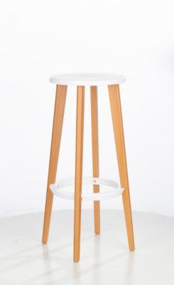 Barhocker WOODY, ABS-Kunststoff, mit Fußring, Massivholzbeine, Sitzhöhe 760 mm, 2 Stk, weiß