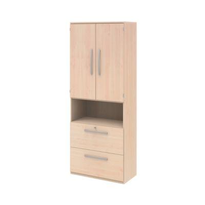 BARI archiefkast, 6 OH, 2 legborden, 2 deuren (3 OH), 1 open vak, 2 hangmappenladen, centrale vergrendeling, b 819 x d 430 x h 2174 mm, ahorndecor