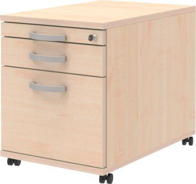 BARI verrijdbare ladeblok, 1 materiaallade + 1 lade + 1 hangmappenlade, b 432 x d 800 x h 538 mm, ahorndecor