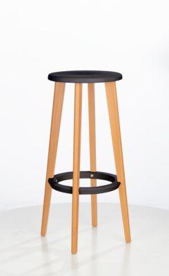 Barkruk WOODY, ABS-kunststof, met voetenring, massief houten poten, zithoogte 760 mm, 2 stuks, zwart