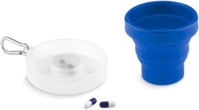 Becher Cup Pill, faltbar, mit Karabinerhaken, inkl. Pillenfach, blau