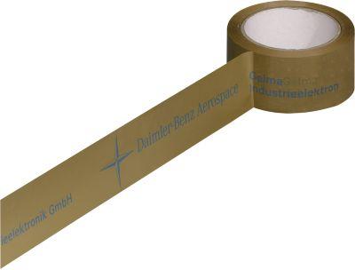 Bedrucktes PVC-Packband, 2-farbiger Druck, braun, 144 Rollen