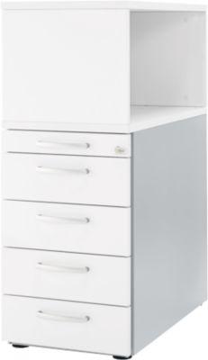 Beistellcontainer mit Aufsatzregal, abschließbar, Griff 2, weiß