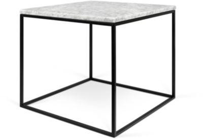 Beistelltisch GLEAM, Quadrat, Würfelgestell, B 500 x T 500 x H 450 mm, Marmorplatte weiß, Gestell schwarz