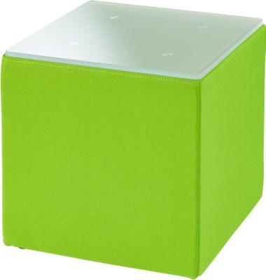 Beistelltisch Wall In, B 410 x T 410 mm, ESG Milchglasplatte, mit Bodengleitern, grün