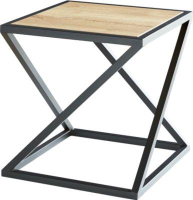 Beistelltisch X, Quadratform, X-Fuß-Gestell, B 500 x T 500 x H 530 mm, Eiche Rustique