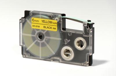 Beletteringstape XR-6YW1, 6 mm x 8 m, zwart/geel