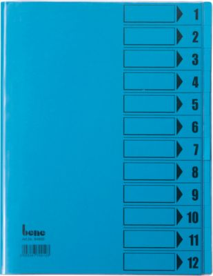 bene Ordnungsmappe mit Schutzumschlag, DIN A4, 12-tlg., blau intensiv