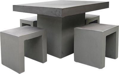BEST Kleine zitgroep Rockall, weerbestendig, betonlook, vierkante tafel, vierkante tafel
