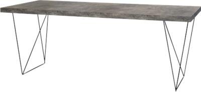 Beton vergadertafel, breedte 2000 mm, onderstel zwart