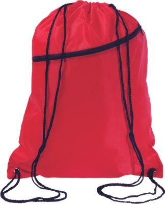 Beutel Big Shoop, aus 190 T Polyester, mit Tunnelzug und Fronttasche, rot