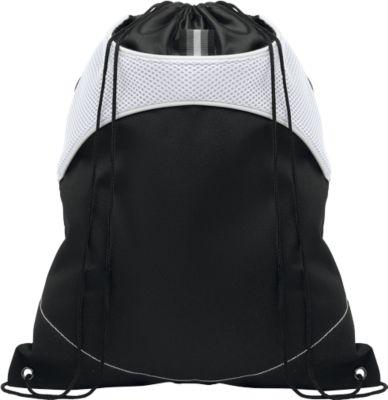 Beutel SHOOP LUX, mit Kordelzug, mit Haupt- und Seitenfach, schwarz/weiß