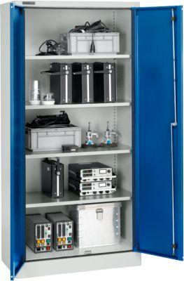 Beveiligde kast conform IP54 met 4 legborden, b 950 x d 525 x h 1935 mm, aluzilver/gentiaanblauw