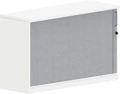 BEXXSTAR aanzetkast met roldeuren, 1,5 OH, met zichtachterwand, b 1200 mm, wit