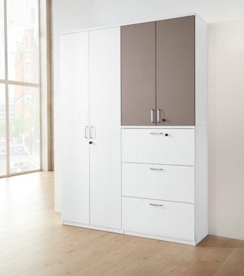 BEXXSTAR opzetkast, 3 OH, met zichtachterwand, houten deuren, b 800 mm, wit/basalt