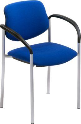 Bezoekersstoel, blauw, alu-zilver