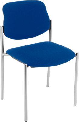 Bezoekersstoel, blauw, verchroomd