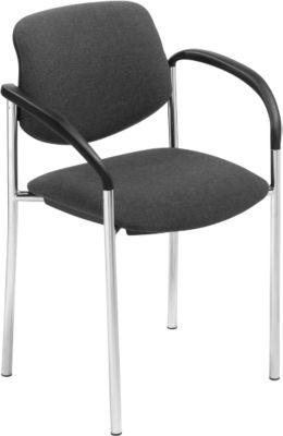 Bezoekersstoel Styl, antraciet, verchroomd, tot 6 stuks stapelbaar