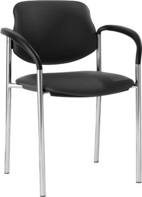 Bezoekersstoel STYL, lederoptik, met armleuningen, onderstel verchroomd, zwart